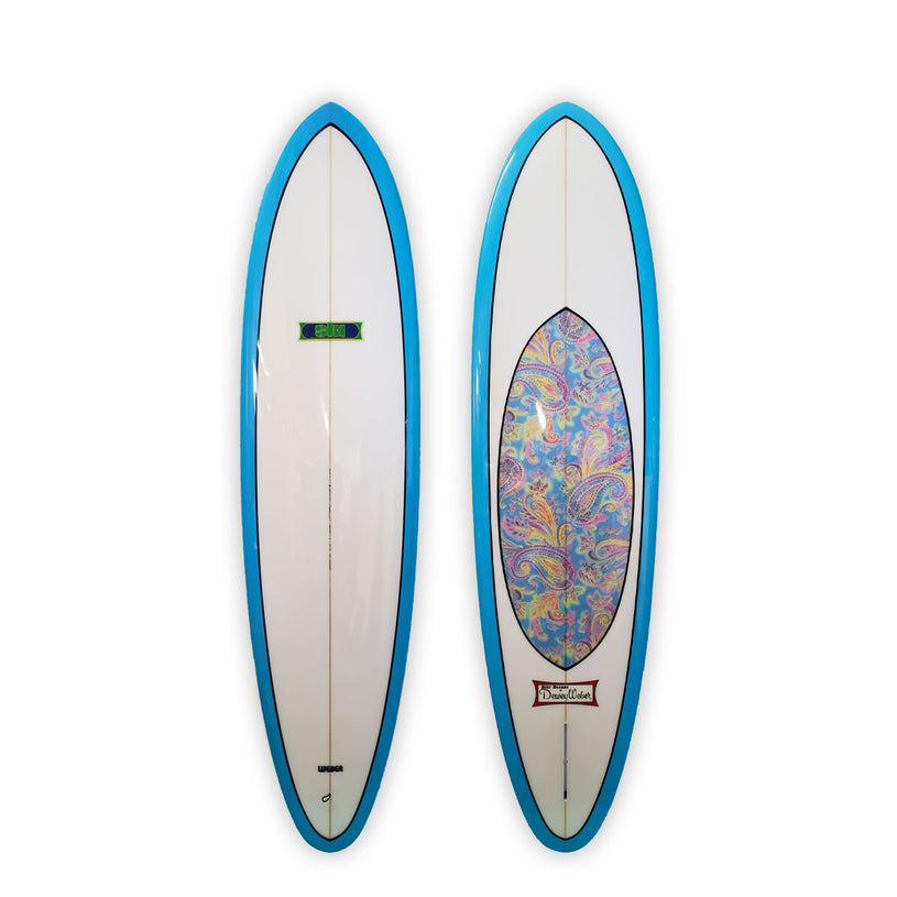 "Sky Blue & Paisley Inlay 7'6"" Ski"
