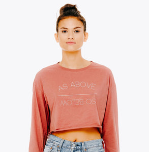 """As Above/So Below"" 90s Vibes Long-Sleeve Crop"