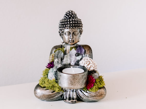 Sitting Buddha Candle Holder With Crystals and Faux Succulents