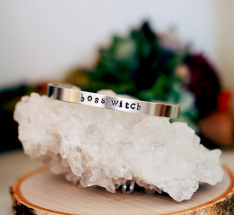 """Boss Witch"" Stamped Bangle"