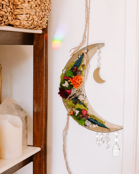 Faux Succulent Crescent Moon Wall Hanging