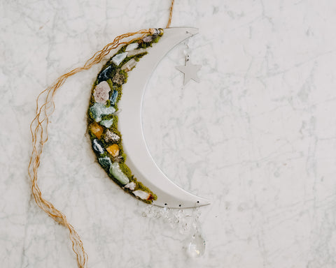 Mixed Crystal Adorned Crescent Moon Wall Hanging