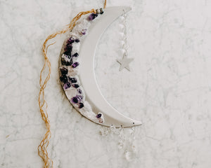 Amethyst & White Sand Adorned Crescent Moon Wall Hanging