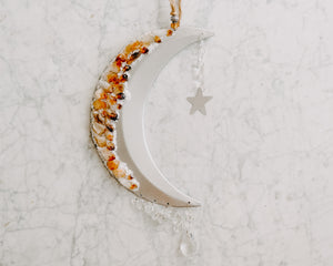 Citrine & White Sand Adorned Crescent Moon Wall Hanging