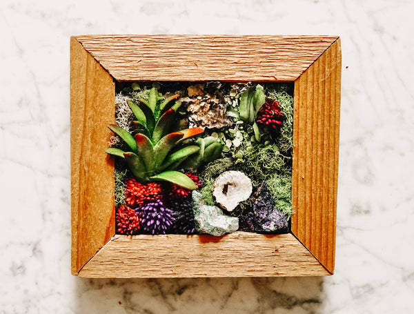 Mini Framed Faux Succulent Wall Piece