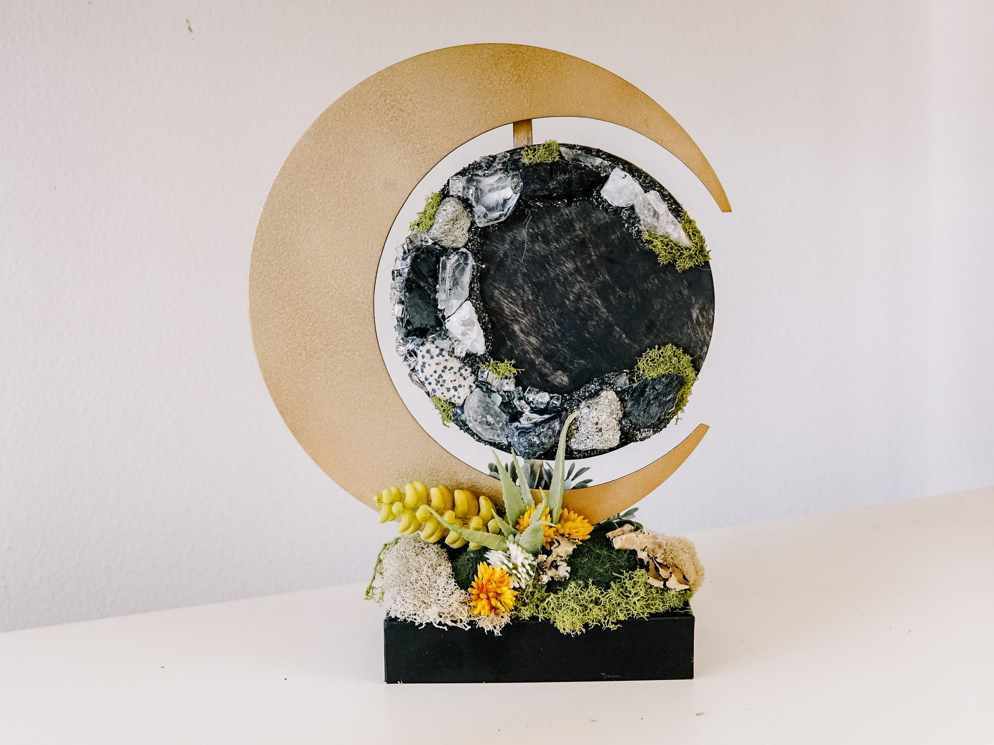 Crescent Moon With Crystals and Faux Succulents