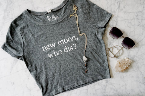 """New Moon Who Dis"" Fitted Cropped Tee"