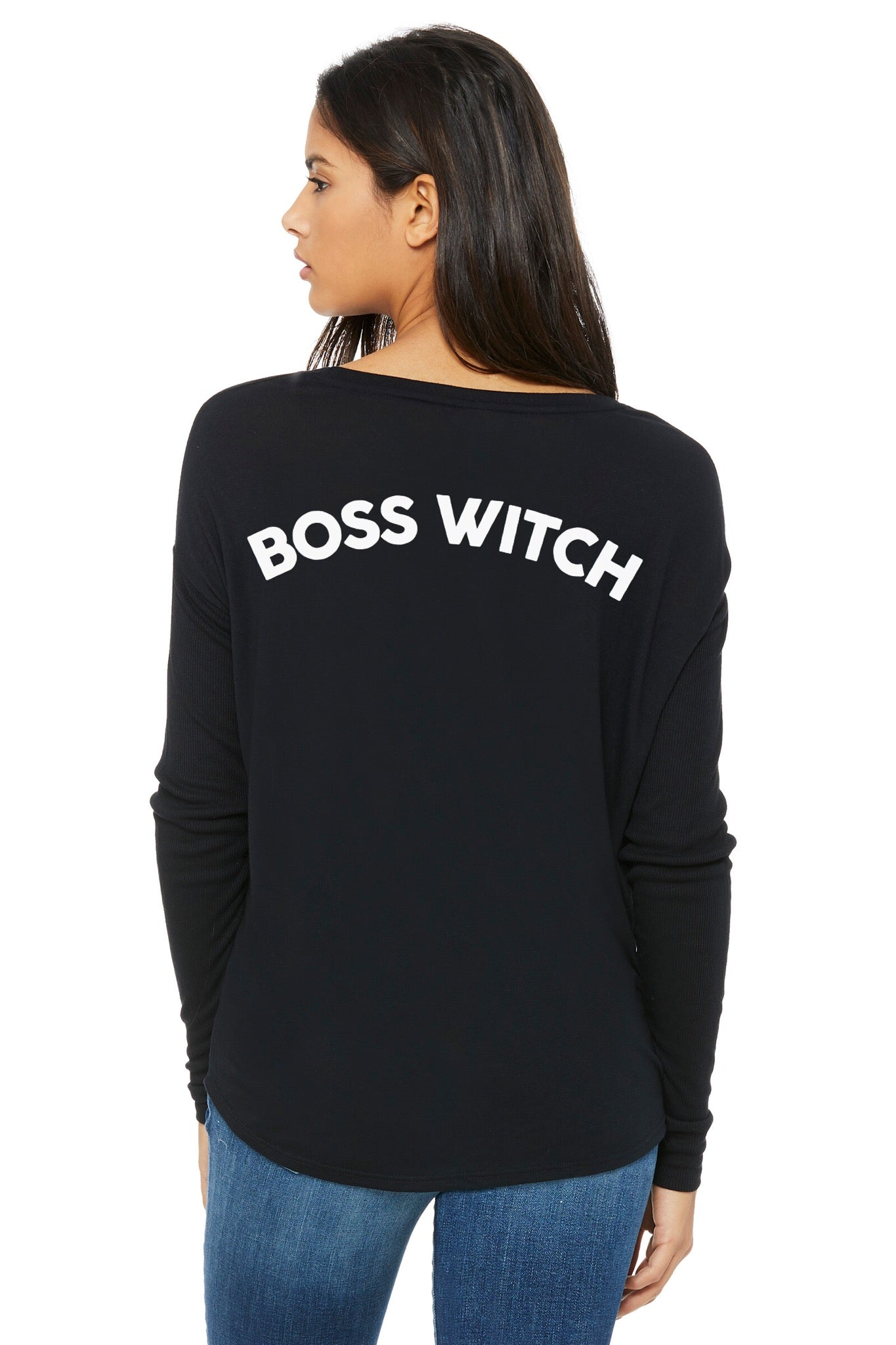 """Boss Witch"" Flowy w/Ribbed Long Sleeves"