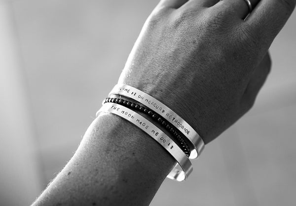 """Blame It On Mercury Retrograde"" Stamped Bangle"