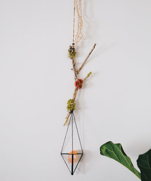 Hanging Crystal Holder With Faux Succulents & Driftwood