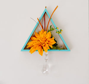 Wood Triangle + Faux Floral Wall Piece
