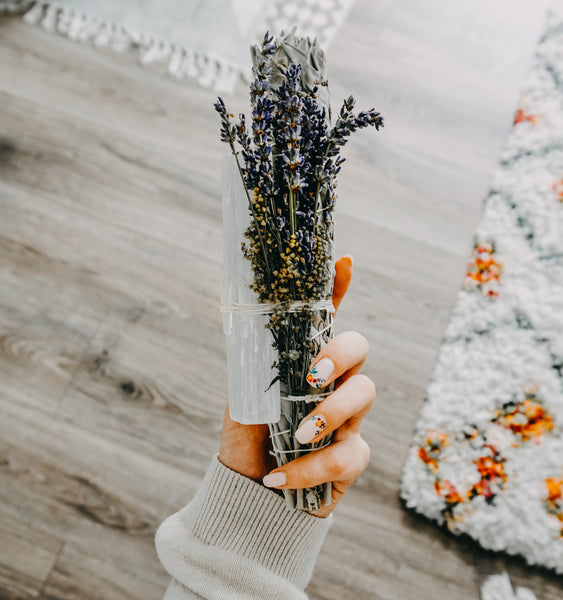 Large Sage Wand With Selenite, Lavender, & Wildflowers