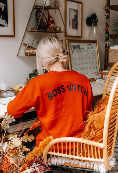 Boss Witch Unisex Sweatshirt: Burnt Orange