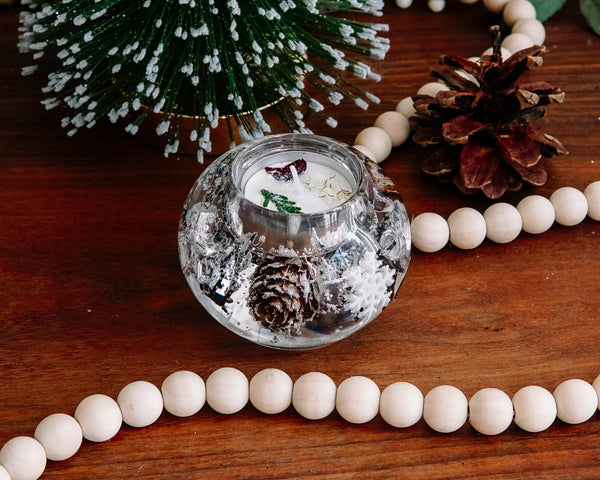 Round Silver Winter Tea Light Candle Holder