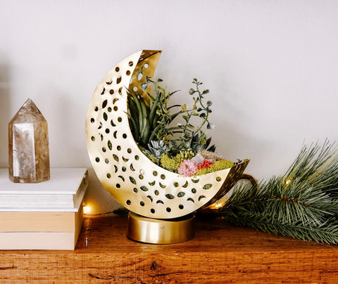 Mini Golden Crescent Moon Planter With Faux Succulents