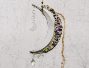 Amethyst Adorned Crescent Moon Wall Hanging
