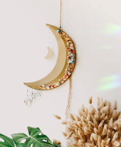 Mixed Crystal Crescent Moon Wall Hanging