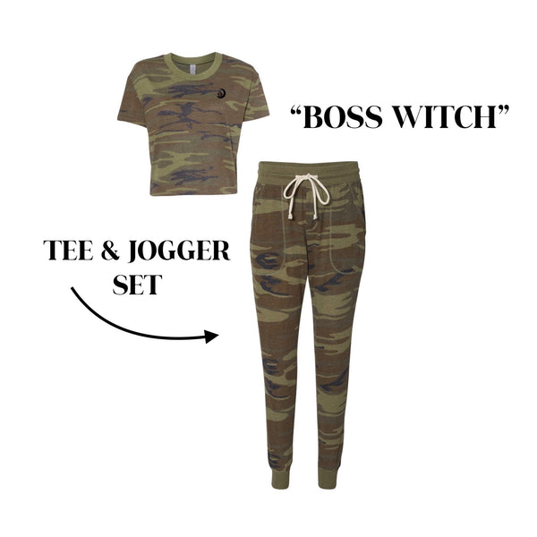 """Boss Witch"" Camo Jersey Tee & Jogger Set"