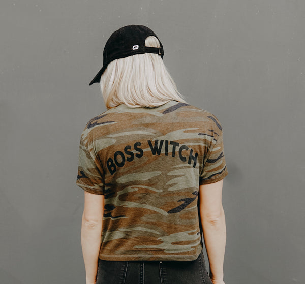 """Boss Witch"" Camo Vintage Jersey Tee"