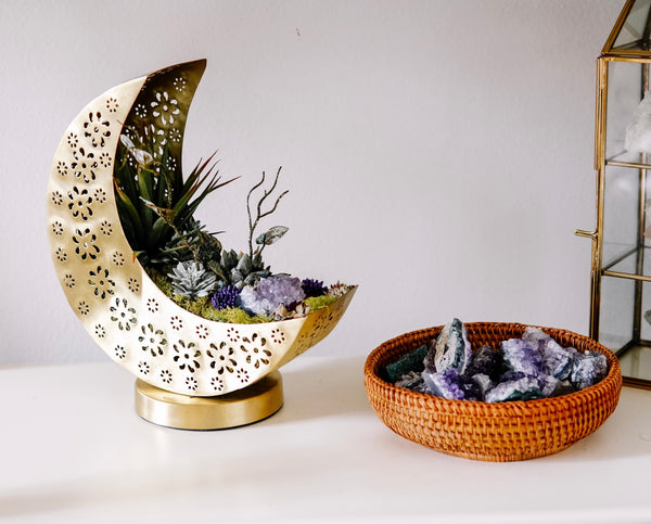 Golden Crescent Moon Planter With Faux Succulents