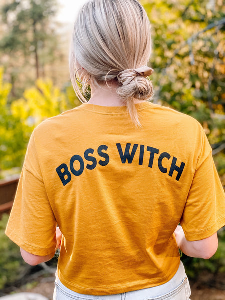 """Boss Witch"" Oversized Streetwear Cropped Tee"