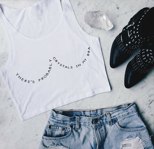 """Crystals In My Bra"" Cropped Tank"
