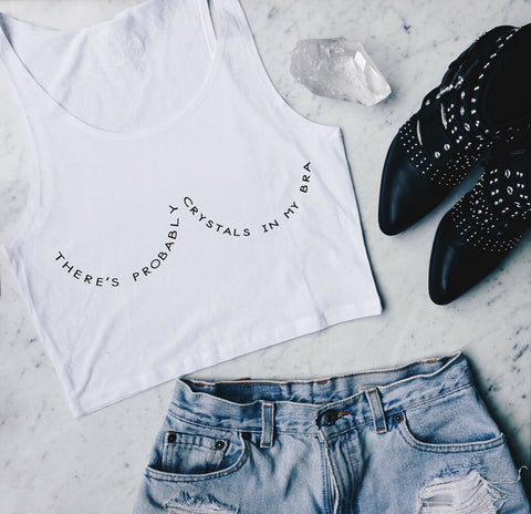 "PRE-SALE: ""Crystals In My Bra"" Cropped Tank"