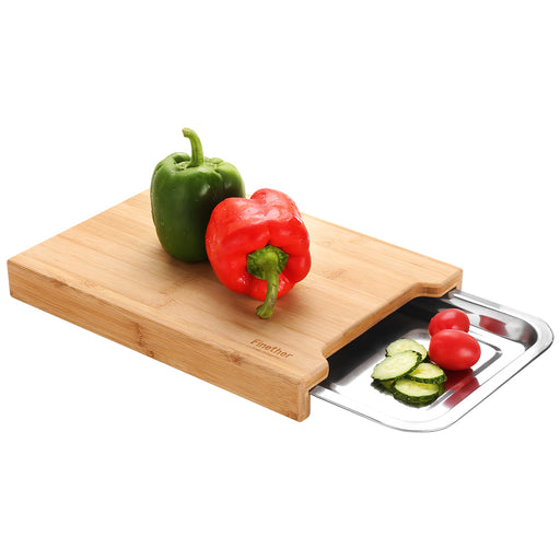 FINETHER Bamboo Cutting Board with Removable Slide-Out Tray, Eco-Friendly Kitchen Chopping Block For Vegetables Fruits Bread Meat Cheese-Finether