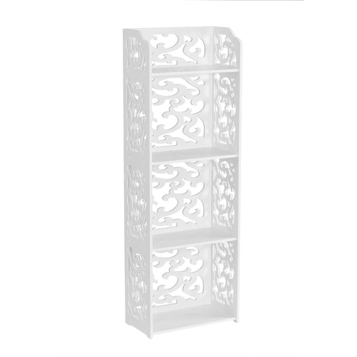 Finether 4-Tier Modular Cut-Out Wood Plastic Composite Shelf Unit Storage Organizer Shelf Bookcase Display Rack with Open Top Shelf, SGS Certified, White-Finether
