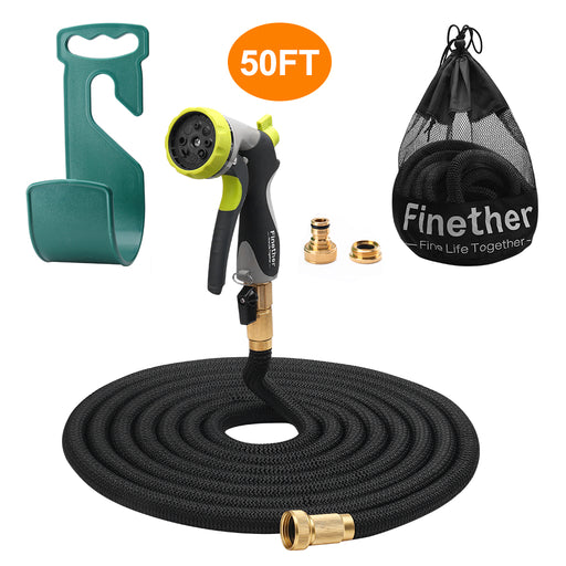 Finether Expandable Garden Hose, Retractible Watering Hose, Hose Pipe with Double Latex Core, High Density Woven Fabric, 3/4 in Brass Fittings, 8 Way Spray Nozzle, Hanger, Storage Bag, Black 50ft-Finether