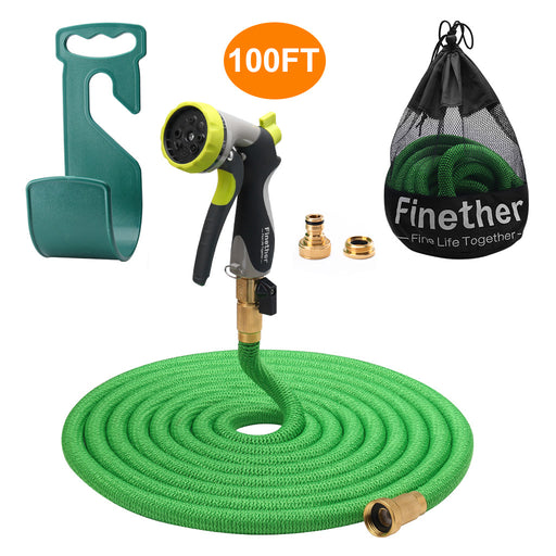 "Finether 100ft Garden Hose Expandable with Double Latex Core, 3/4"" Brass Fittings, High Density Woven(Extra 8 Function Spray Nozzle for Free, Hanger, Storage Bag for Free)-Finether"