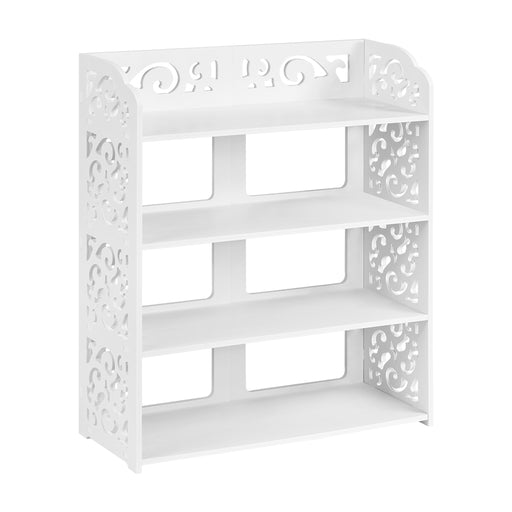 Finether 4-Tier Modular Cut-Out Wood Plastic Composite Shelf Unit Storage Organizer Shelf Bookcase Display Rack, SGS Certified, White-Finether