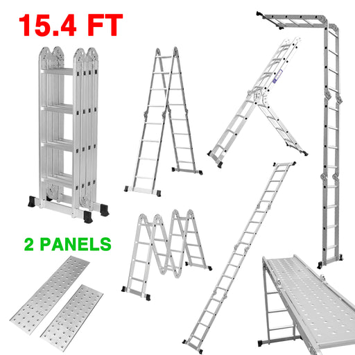 Finether 15.4ft Extension Ladder|Aluminum Ladder| Multi-Purpose Folding Ladder with Safety Locking Hinges and 2 Panels,EN131 Certified, 330 Lb Capacity-Finether