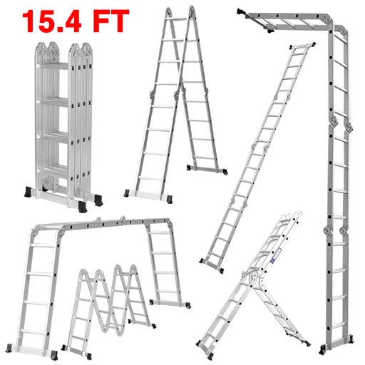 Finether 15.4ft Heavy Duty Multi Purpose Aluminum Folding Extension Ladder with Safety Locking Hinges 330lb Capacity (New Non-slip Mat and Wheels for Free)-Finether