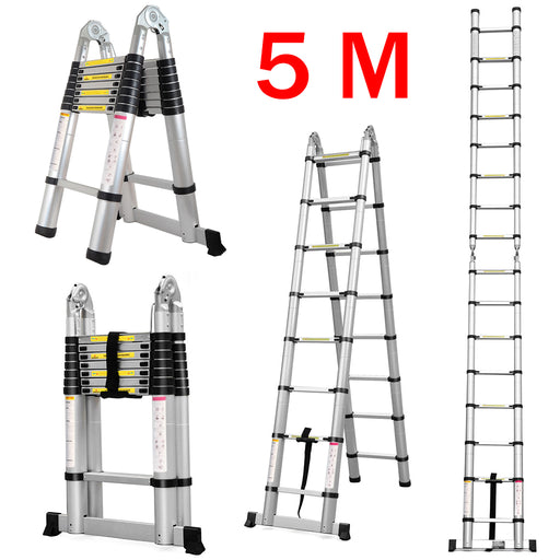 Finether 16.4ft Aluminum Telescoping Extension Ladder Portable Multi-Purpose Folding A-Frame Ladder with Hinges, 150 kg Load Capacity for Home Loft Office,EN131 Certified-Finether