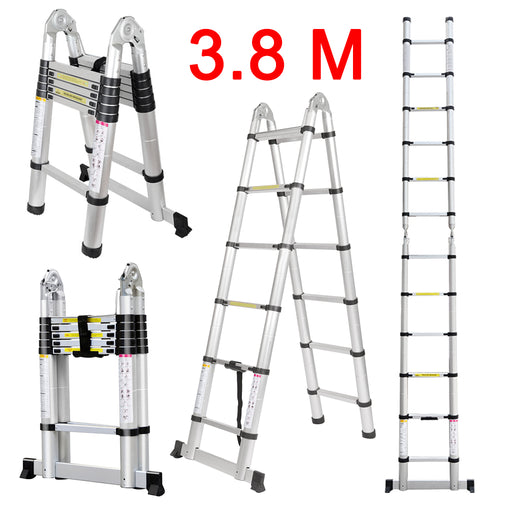 Finether 12.5ft Aluminum Telescopic Extension Ladder | Portable Heavy Duty Multi-Purpose Telescoping Ladder, EN 131 Certified A-Frame Ladder with Hinges,330 Lb Capacity-Finether