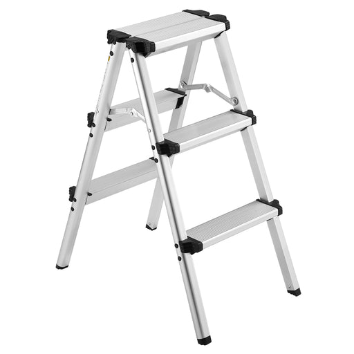Finether Folding 3 Step Aluminum Ladder 300lb Capacity, Portable Step Stool for Home,Kitchen, Garden, Office, Warehouse-Finether
