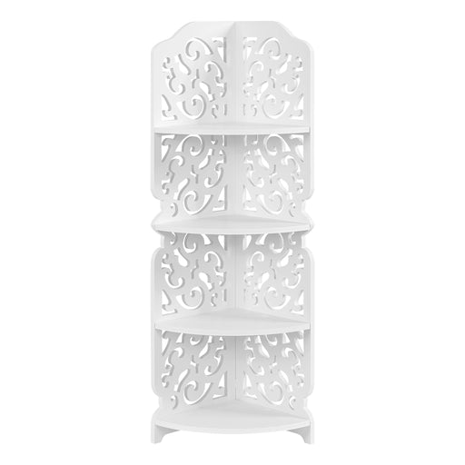 Finether 4-Tier Modular Cut-Out Quarter-Circle Wood Plastic Composite Corner Shelf Unit Storage Organizer Display Rack, SGS Certified, White-Finether
