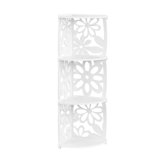 Finether 3-Tier Modular Flower Cut-Out Quarter-Circle Wood Plastic Composite Corner Shelf Unit Storage Organizer Display Rack, SGS Certified, White-Finether