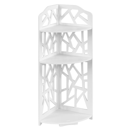 Finether 3-Tier Modular Cut-Out Quarter-Circle Wood Plastic Composite Corner Shelf Unit Storage Organizer Display Rack, SGS Certified, White-Finether