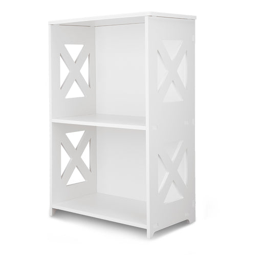 Finether 2-Tier Modular Side Cross Cut-Out Wood Plastic Composite Shelf Unit Bookcase Storage Organizer Display, SGS Certified, White-Finether