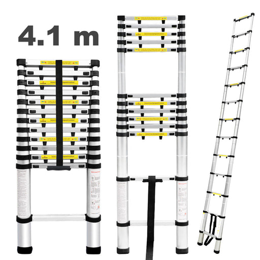 Finether Telescopic Extension Ladder|13.5ft Portable Aluminium Telescoping Ladder with Finger Protection Spacers for Home Loft Office, EN131 Certified, 330 Lb Capacity-Finether