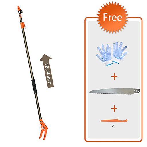 Finether Telescopic Pole Saw Long Reach Pole Pruner Lightweight Tree Trimmer with Bypass Pruner, Saw Blade, Guide Rod |Work Gloves for Free | Extends from 4.3 to 6.6 ft-Finether