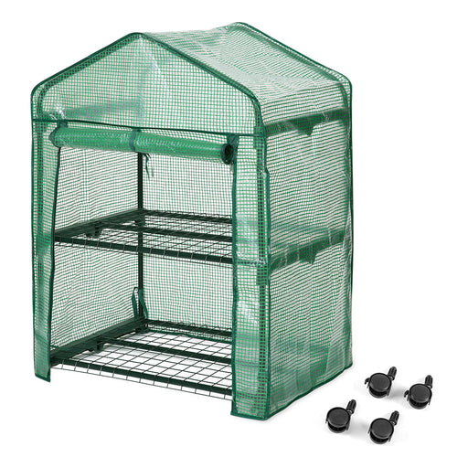 "Finether 2-Tier Greenhouse with Clear Cover and Casters |Portable Garden House/Gargen House for Indoor Outdoor Herb Flower Garden Balcony,27""x19""x38""-Finether"