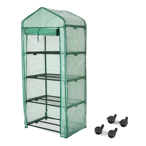 "Finether 4-Tier Greenhouse with Clear Cover and Casters |Portable Garden House/Gargen House for Indoor Outdoor Herb Flower Garden Balcony,27""x19""x62""-Finether"