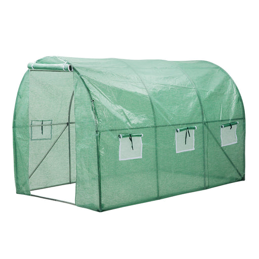 "Finether Walk in Greenhouse with Clear Cover| Portable Green House with 6 Mesh PE Cover for Indoor Outdoor Plants Herb Flower Garden Balcony, Arched,56""x30""x76""-Finether"