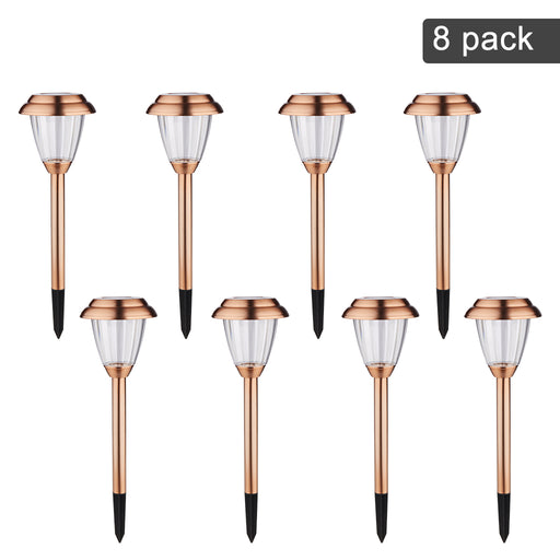 Finether LED Solar Lights Outdoor Garden Lights Stainless Steel Landscape Lighting Waterproof Path Lights for Lawn,Garden,Driveway,Yard,Walkways,8 Pack (2018 Advanced)-Finether