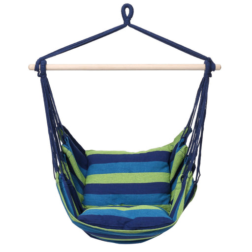 Finehter Hanging Rope Hammock with Pillow Set|Hanging Chair Swing seat for Indoor Outdoor Use|265 lbs Weight Capacity,Blue & Green Stripe,No Fade-Finether