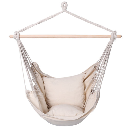 Finether Padded Hammock Hanging Chair Swing with Pillow Set for Indoor Outdoor Use, 265 lbs Weight Capacity, Beige-Finether