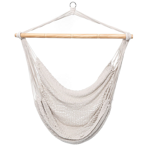 Finether Mesh Hammock Chair Swing, Netted Swing Chair Swing Seat Rope Hanging Chair for Any Indoor or Outdoor Spaces, 300 lbs Weight Capacity,White-Finether